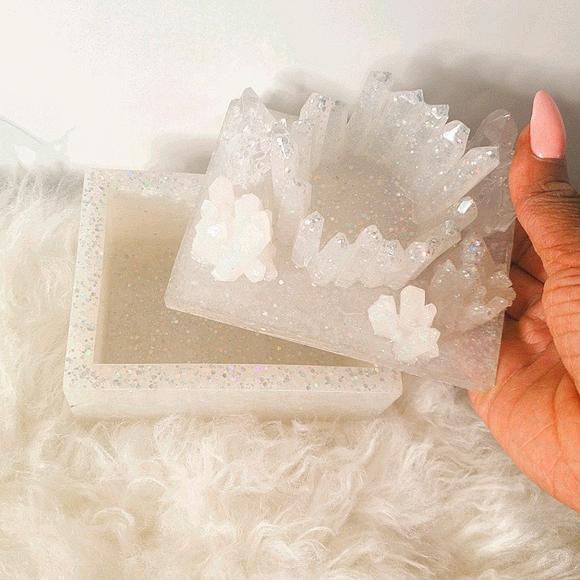 White Glitter Crystal resin Trinket / Jewelry box